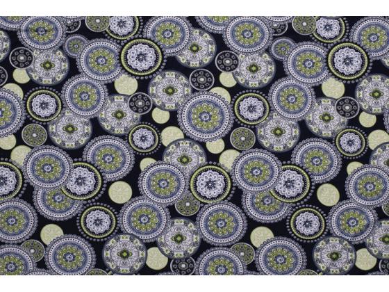 Viskoseprint jersey print med sirkler