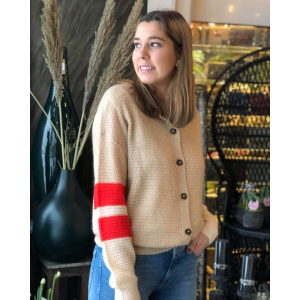 Cardigan with colour blocked sleeves