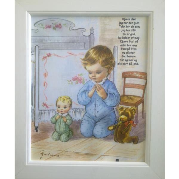 Bilde - Aftenbønn - Gutt 20 x 25 cm