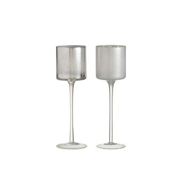 Tea-Light Holder Liam On Base Glass Silver/White Large