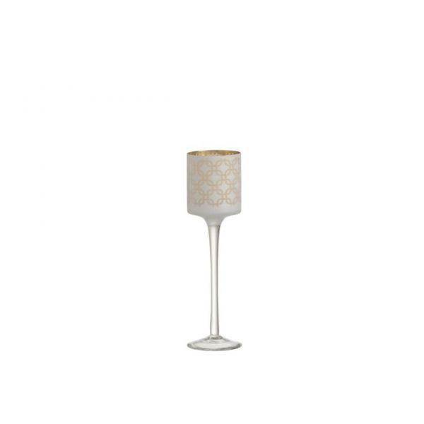 Tea-Light Holder On Base Links Mat White/Gold Small