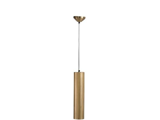 Hanging Lamp Cylinder Metal Gold Medium