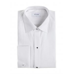 Smoking skjorte hvit plisse slim fit