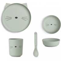 LIEWOOD - SPISESETT BAMBUS CAT DUSTY MINT