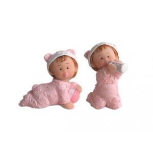 Baby med tåteflaske og ball rosa 5cm og 4,5cm