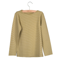 LITTLE HEDONIST - LONG SLEEVE STRIPED MOSS GREEN/WHITE