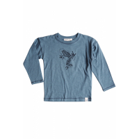BY HERITAGE - TED LS T-SHIRT FRONTPRINT SEA BLUE