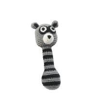 Maracas crochet, raccon, grey