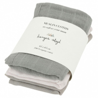KONGES SLØJD - MUSLIN CLOTHS LIME STONE 3-PK