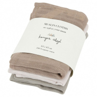KONGES SLØJD - MUSLIN CLOTHS ROSE DUST 3-PK