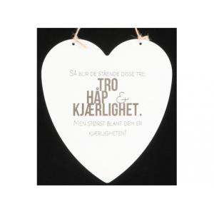 Metallskilt hjerte Tro håp kjærlighet… Str: 16x17,5cm