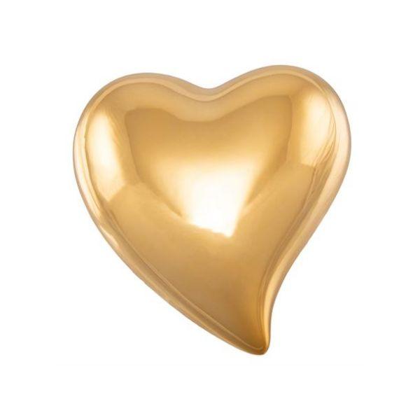 Hjerte porselen gull 4,5x5x2cm