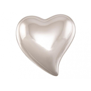 Hjerte porselen sølv 4,5x5x2cm