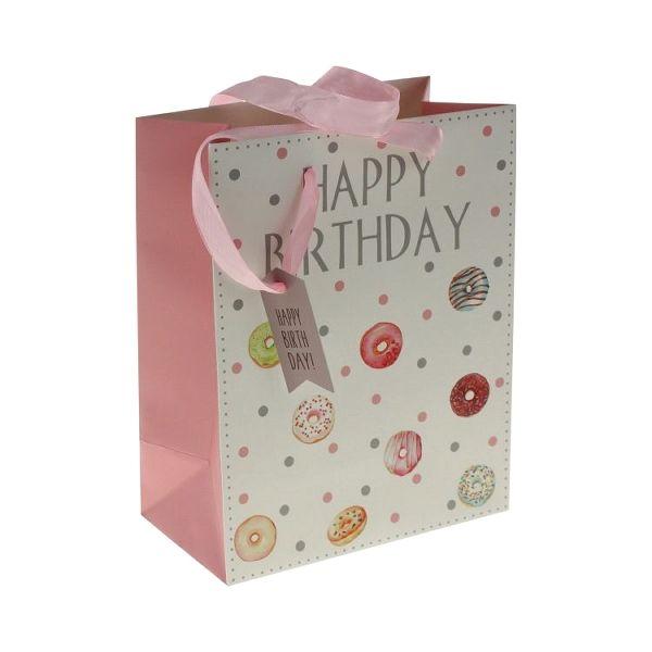 "Gavepose ""happy birthday"" rosa med donuts"