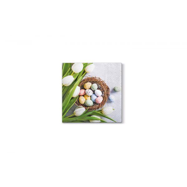 Serviett lunsj 20 stk Eggs and Tulips 3 lag 33x33cm