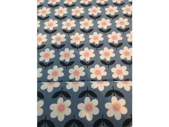 Jersey med  blomster på blå bunn