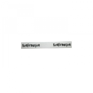 Satinbånd Konfirmasjon hvitt m/sort trykk 10mm 1m