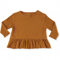 KONGES SLØJD - NEW EBI FRILL BLOUSE DARK HONEY