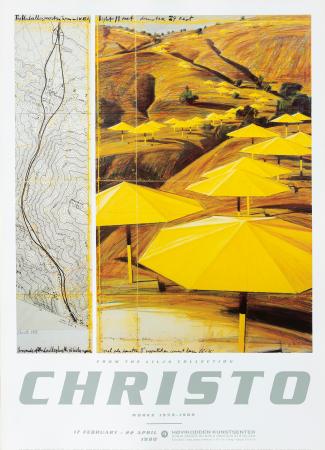Plakat Christo - gule parasoller signert