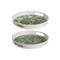 Tray Round Tropical Bamboo Green
