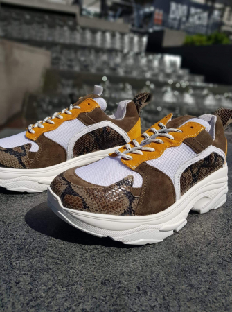 Mynthe mesh - Leopard suede