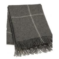 Dobbeltpledd nr 455 mørk grå m hvite striper 220x260