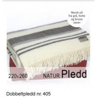 Dobbeltpledd nr 405 hvit/striper220x260