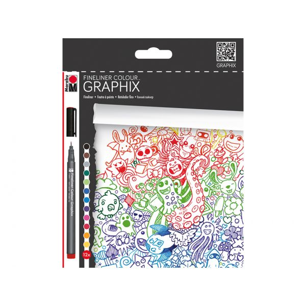 Marabu Graphix Fineliner – Colour Doodle Supreme – 12stk