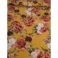 Jersey digital flower oker med orange blomster
