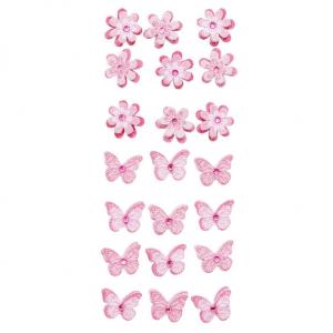 3D stickers Blomst/s.fugl Rosa