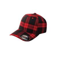 flexfit tartan plaid black/red