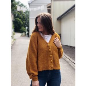 Hairy Knit Cardigan - Mustard