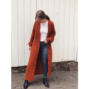 Hairy knit long cardigan - Rust