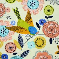 Blomster og fugler på lys turkis bunn