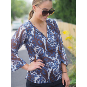 Perrine Boho Blouse  New Blue