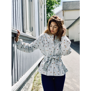 Structured Cotton Blouse Blue Field
