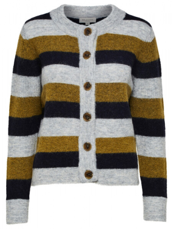 Sia Knit Cardigan Olive Stripe