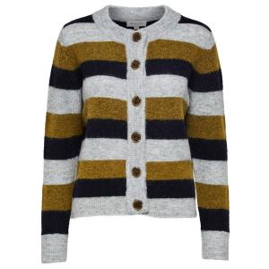 Sia Knit Cardigan Olive Stripe