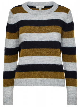 Sia Knit O-Neck Olive Stripe