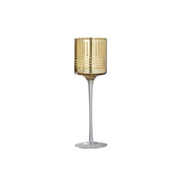 T-light holder on foot, stripe glass gold S