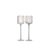 Tealight Holder On Foot Tree White/Silver Small Assortment Of 2