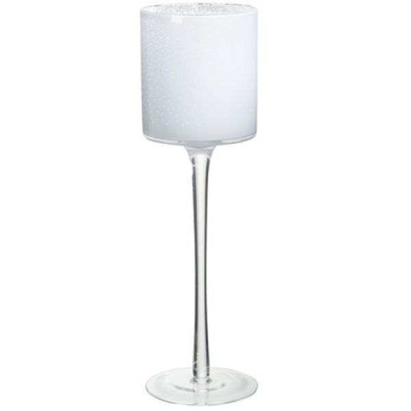 Tea-Light Holder +Base Snow Glass White Large