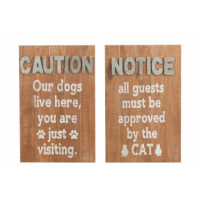 Placard Dogs/Cat Wood Natural/Grey Assortment Of 2