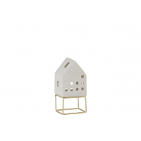 House Modern Porcelain White/Gold Small