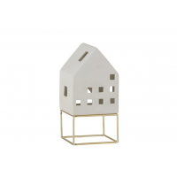 House Modern Porcelain White/Gold Large