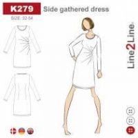 K279 Kjole med rynk i siden