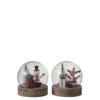 Glasskule snømann/reinsdyr med lys