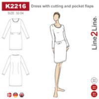 K2216  Kjole med lommeklaffer og delsøm