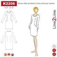K2206  Kjole med lommer i prinsesse søm