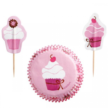 Muffinsform STD Pink Party og sticks, 24 stk